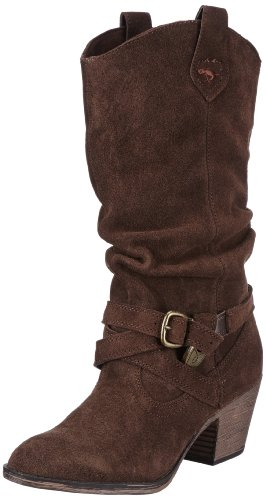 Rocket Dog Women's Sidestep Dark Brown Suede Mid-Calf Western Boot 3 UK