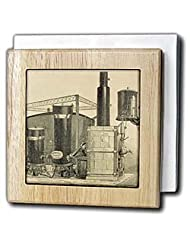 Heinr Hirzel machine to make gas, Engraving, 1886 - HI13 PRI0161 - Prisma - 6 Inch Tile Napkin Holder by 3dRose