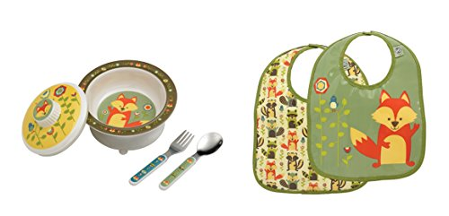Sugarbooger Covered Bowl, Silverware, and 2 Bibs Set-Fox