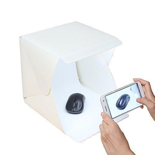 Gleading Mini portatile tenda Photography Studio Luce Kit LightRoom scatola chiara con luce a LED: pieghevole della tenda ha condotto la luce due sfondi (bianco e nero)
