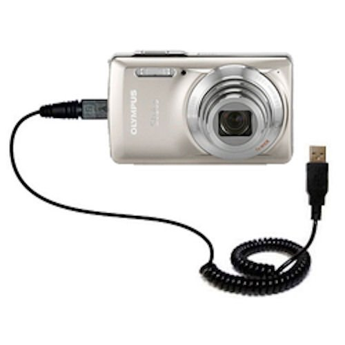 Unique Gomadic Coiled USB Charge and Data Sync cable for the Olympus Stylus-7030 Digital Camera - Charging and HotSync functions with one cable. Built with TipExchange
