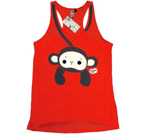 New Breed Girl Hangin Monkey Ladies Red Vest Top