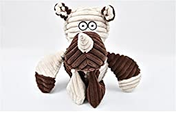 JasGood Cute Animal Shape Squeaky Plush Chew Dog Toy for Large Middle Small Dogs (Brown Cow)