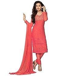 Isha Enterprise Women's Chiffon Dress Material(KFD400-1756_Red)