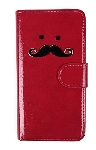 (ライフィーズ) Lifees iPhone 6s / 6 / 6s Plus / 6 Plus 手帳型ケース 保証付 折りたたみ式 PUレザー ヒゲ 髭 ビジュー ラインストーン ハンドメイド (iPhone 6s / 6, レッド)