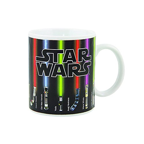 Coffee Mug, Star Wars Lightsaber Heat Chage Mug, Sabers Beam Up with Hot Liquid Added, 100 Percent Ceramic, Not Dishwasher or Microwave Safe, Standard 12 fl. oz., Black