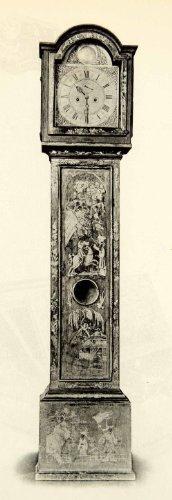 1923 Collotype Lacquer Grandfather Clock Asian Furniture Style Design Decoration - Original Collotype