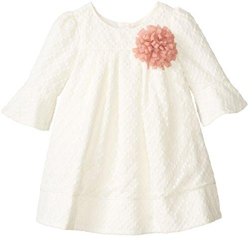 Pippa & Julie Little Girls' Textured Cream Bell Sleeve Dress, Off White, 3T