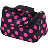 Black Zipper Cosmetic Bag Toiletry Bag Make-up Bag Hand Case Bag with Roseo Spots Patterns