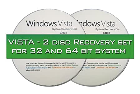2 DISC COMBO - WINDOWS VISTA SYSTEM RECOVERY DISCS - LIVE BOOT CD 32 / 64BIT DVD. (Both discs work with Home Basic, Home Premium, Business, and Ultimate).
