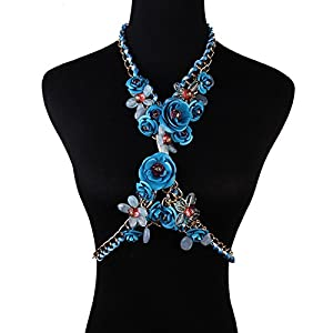 Holylove® Blue Color Summer Brand Design Rose Flower Body Statement Jewelry Necklace- with Color Box