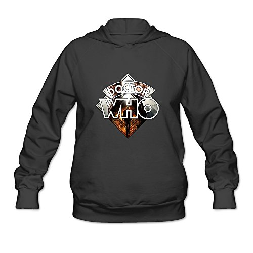 HOORIE Women's Doctor Who Logo Sweatshirt Black Small (Dr Who Engagement Ring compare prices)