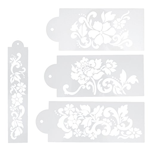 Whitelotous Different Patterns Cake Cookie Fondant Side Baking Stencil Wedding Decor Mold Tool (Type D)
