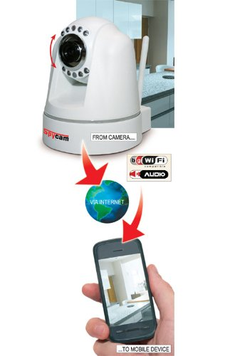 Internet Home Security Camera Direct to your Mobile Phone, iPhone or Smartphone from anywhere in the world (1013) Access via your iPhone, smartphone or internet. Instant alert motion sensor.