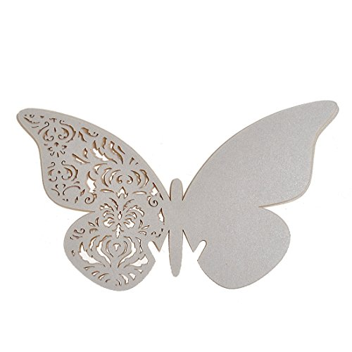 H&D 12Pcs Ivory Butterfly Laser Cut Place Cards Wine Glass Cards Wedding Christmas Baby Shower Party Decorations front-415401