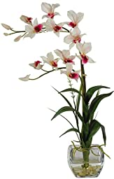 Nearly Natural 1135-WH Dendrobium with Glass Vase Silk Flower Arrangement, White