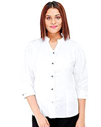 Colornext Cotton White Shirt for Women (Size: Small)