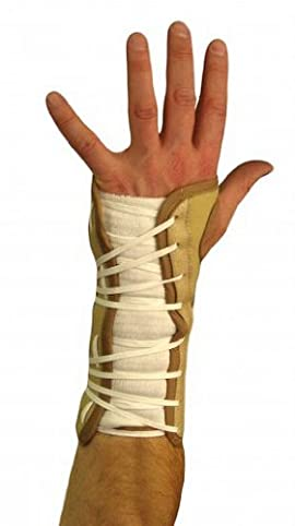 Lace-up Wrist Support Brace, Beige Nylon (Left)