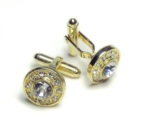 GOLD-Colored Men's Cuff Links. DIAMOND like stones Cufflinks.