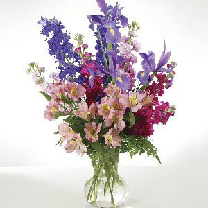 Mixed Flowers In Vase Fresh Cut Format