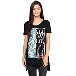 Candies by Pantaloons Women's Other T-Shirt (205000005542439_Black_XS)