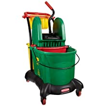 "Rubbermaid Commercial FG777700 WaveBrake Down Press Mopping Trolley, 8.75 Gallon Capacity, 28.9"" Length x 18.2"" Width x 38.6"" Height, Green"
