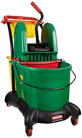Rubbermaid Commercial FG777700GRN WaveBrake Down Press Mopping Trolley, 8.75-Gallon Capacity, Green