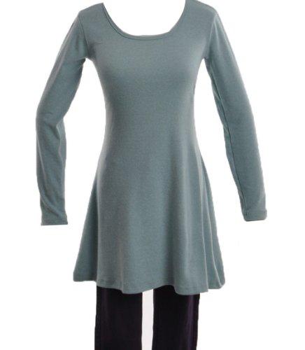 Lady'S Korean Style Solid Plain Soft Long Sleeve Mini Dress Skirts