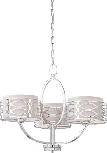 Nuvo 60/4624 Harlow Polished Nickel Three Light Chandelier
