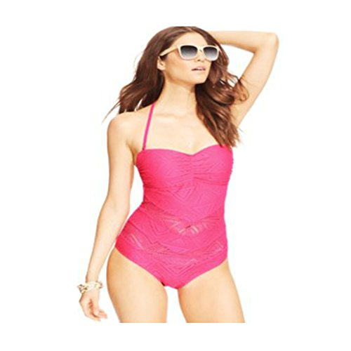 Jessica Simpson Crochet Bandeau One-Piece Swimsuit Womens Swimsuit Large