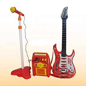 new kids child electric guitar toy play set strings amp red or blue sent at. Black Bedroom Furniture Sets. Home Design Ideas