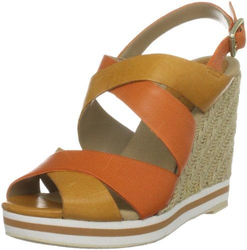 Gunmetal Women's Christina Mustard/Orange Wedges Heels 84926/13470 8 UK