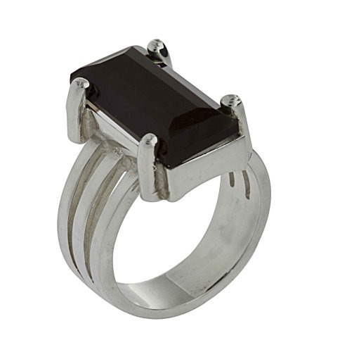 Three Stripes Rectangular Crystal Ring From the Crystal Collection Designed By Mauricio Serrano For Basic Jewelry