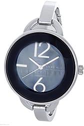 Anne Klein Women's Silver-Tone Black Dial Bangle Bracelet Watch AK/1299BKSV