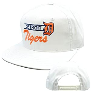 MLB Detroit Tigers White Navy Blue Flat Bill American Needle Snapback Cap Hat by American Needle