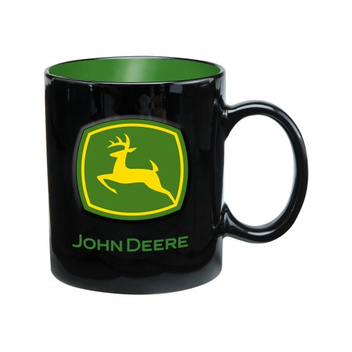 Vandor 28061 John Deere 20 Oz Ceramic Mug, Black, Green, And Yellow