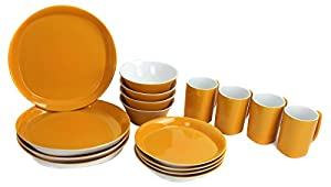Rachael Ray Round/Square 16-Pc Lemon Zest Dinnerware Set