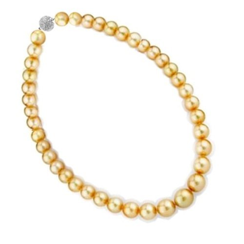Bling Jewelry 12mm South Sea Shell Golden Pearl Bridal Necklace