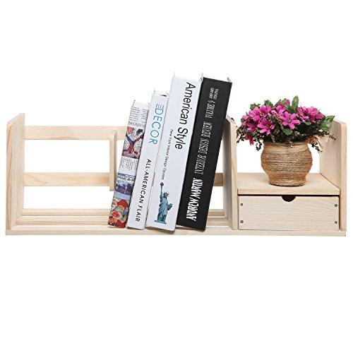 MyGift Wooden Bookshelf / Desk Top Supply Organizer Caddy / Utility Storage Shelf Rack w/ Drawer - Beige