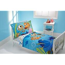 Disney 4 Piece Toddler Bedding Set, Nemo and Friends