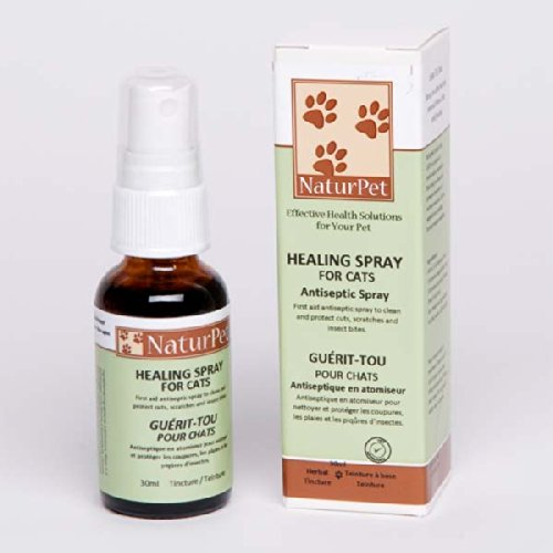Naturpet Healing Spray For Cats - Antiseptic Spray - 1.01Oz - Natural Herbal Tincture Blend - Pets