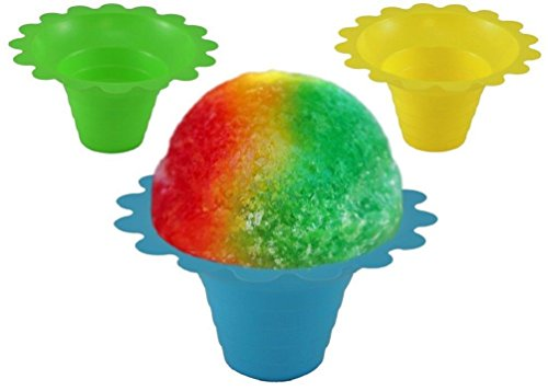 100 Cups of 4-8oz Assorted Color Flower Cup Snow Cones Ice Cream Bowl