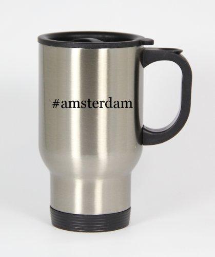 #Amsterdam - Funny Hashtag 14Oz Silver Travel Mug