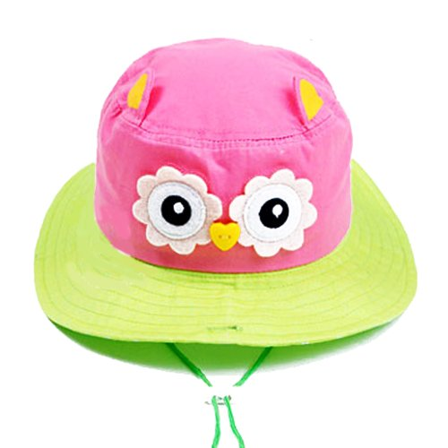 Brilliance Baby Cute Owl Design Mod Bucket Distressed Hat Sun Hat Floopy Hat (Pink) front-919370