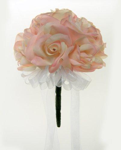 Pink Silk Rose Toss Bouquet - Wedding Bouquet