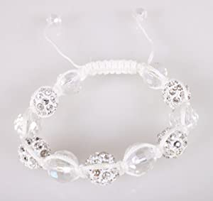 White Shamballah 12mm Macrame Bracelet with 5 Iced Out Disco Balls