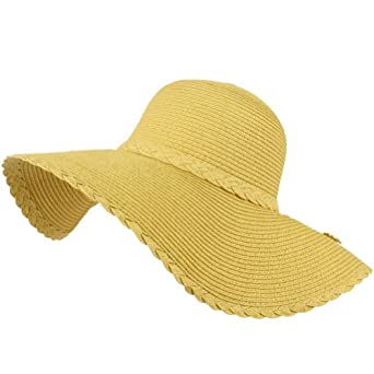 50+ UPF Protection Beach Summer Braid Wide Brim Floppy Sun Hat Cap Natural 57cm