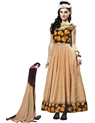 Exotic India Chocolate And Cream Anarkali Suit With Printed Roses An - Off-White