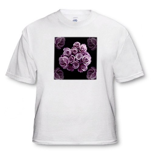 Pastel lilac purple rose bouquet on black background - White Infant Lap-Shoulder Tee (12M)