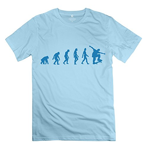 Chadlavigne 100% Cotton Men'S Skateboard Evolution T-Shirt - L Skyblue